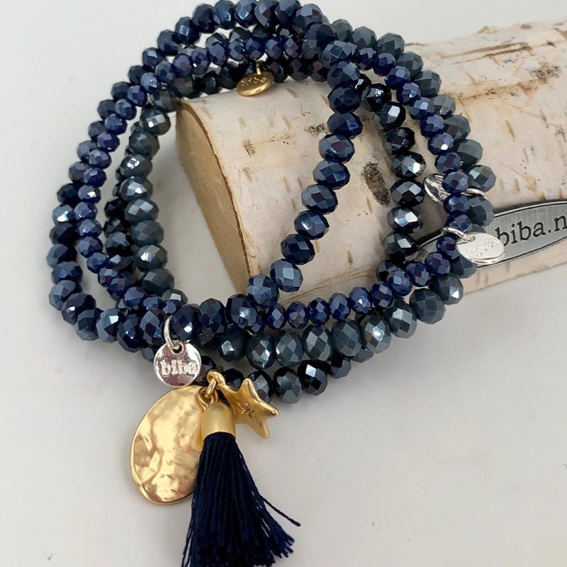 Biba Armband Set 4teilig.blau:gold Stern 001
