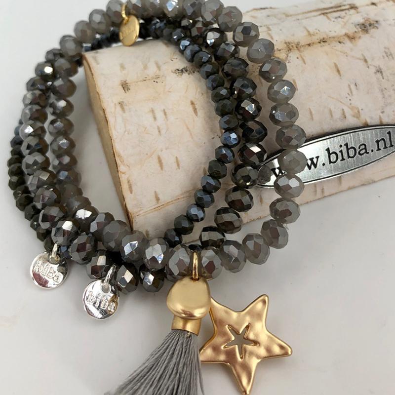 Biba Armband Set Grau:gold Stern 017