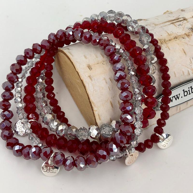Biba Armband Set Mix Rot Silber 008