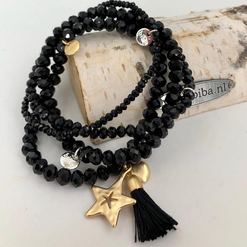 Biba Armband Set Schwarz:gold Stern 018