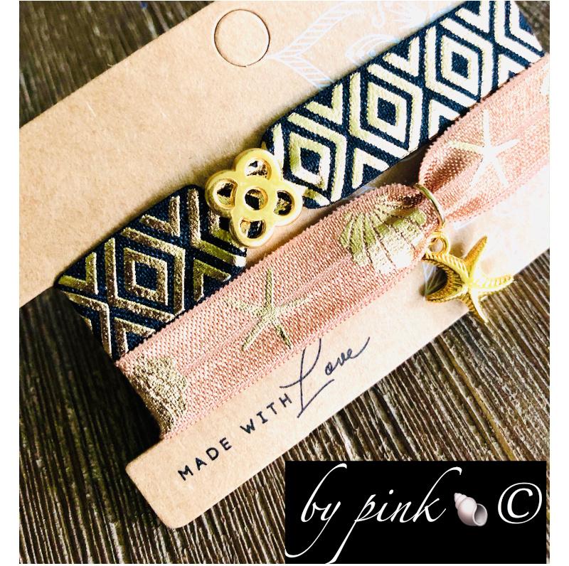 Pink Armband Set Schwarz Beige