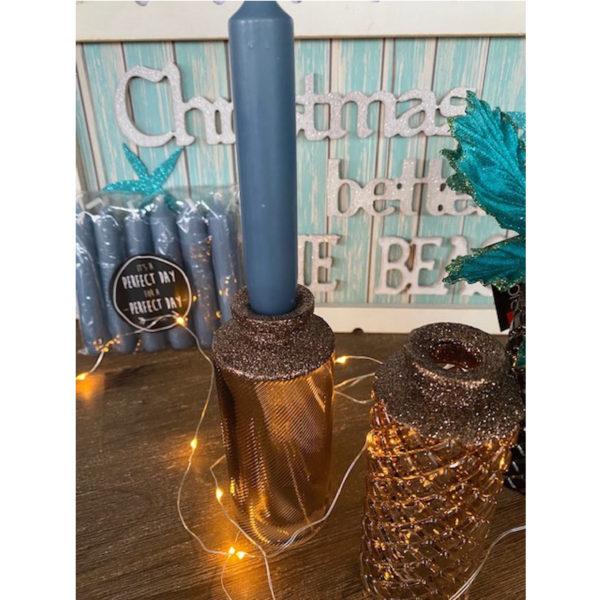 Vase Kerzen Blau 2